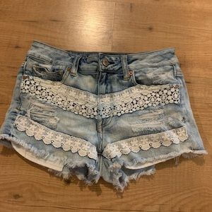AMERICAN EAGLE Lace and Denim Shorts